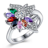 Gorgeous Women's Flower Multicolor Topaz 925 Silver Wedding Ring Size 6-10