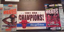 1991 1992 Chicago Bulls Champions Lot Wheaties Tribune Plackard
