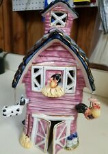 decorative ceramic barn with animals for candle