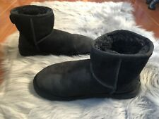 Ugg Australia Sz 8 Classic Suede Winter Boots Black Pull-on Shearling