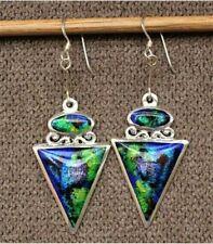 Silver Earrings Guilloché Enamel Moinek New Art Deco Opal Statement Sterling