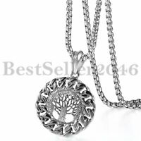 Tree of Life Cuban Chain Tag Pendant Men Women Stainless Steel Necklace 22""
