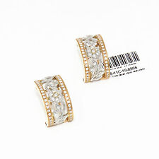 NYJEWEL Brand New 18k Rose Gold Two Tone 1.15ct Diamond Floral Earrings