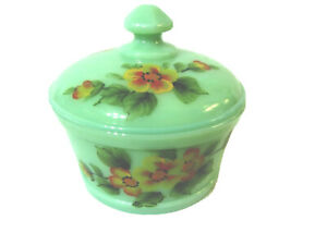 Mosser Glass Jade Handpainted Orange Blossoms Covered Butter or Candy Dish, new
