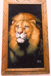 Vintage Majestic Lion Black Velvet Painting Hand-painted Mexico SIGNED BY ARTIST