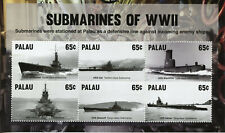 Palau Ships Stamps 2015 MNH Submarines of WWII WW2 Second World War II 6v M/S