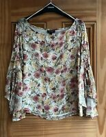 TOPSHOP New Cream Ivory Brown Yellow Flared Sleeve Floral Chiffon Top Size 6- 14