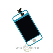 LCD Digitizer Frame Assembly for Apple iPhone 4 GSM Transparent/Blue Front Glass