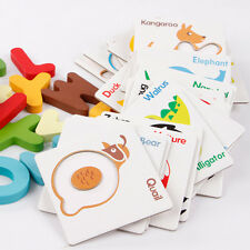 Wooden ABC Alphabet Letters Animal Match Cards Baby Kids Educational Puzzle Toys