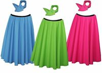 """26"""" Neon Rock & Roll Skirt & Neck Tie With Black Elasticated Waist band"""