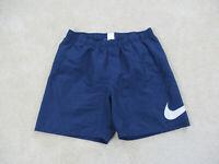 VINTAGE Nike Swim Trunks Adult Large Blue White Bathing Suit Shorts Mens B31