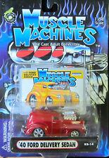Muscle Machines Rojo '40 FORD ENTREGA Sedan #02-14 DIECAST 1:64 Escala