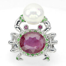 Großer Ring Krebs Rubin Tsavorit MK-Perle 925 Silber 585 Weißgold Gr. 57