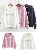Fashion Women Cute Cat Print Shirt Long Sleeve Sweatshirt Loose Casual Blouse US