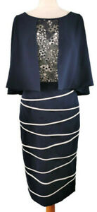 NEW Veni Infantino 10 12 Blue Cape Dress Mother of The Bride Wedding Occasion