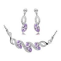 Silver & Purple Bridal Teardrop Jewellery Set Drop Earrings & Necklace S486