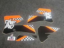 KTM SX85 2006-2012 One Industries schwarz/Weiß/orange Checkers grafik kit 1G58