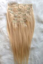 100% Brazilian Human Hair Light  Blonde Clip in Hair Extensions  18 inches