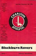 CHARLTON ATHLETIC vs BLACKBURN ROVERS Official Football Programme 05/12/1970