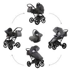 Knorr Baby 3in1 Kombi-Kinderwagen Set Voletto Tupfen GRAU mit Autositz 3312-1