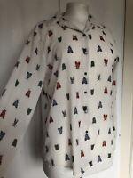 H&M Medium White Bug Print Sheer Long Sleeve Smart Kitsch Work Blouse Shirt
