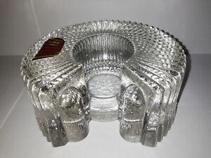 WALTHER GLAS Teelichthalter Stövchen Glas Glass 60s/70s Blockkristall Massiv TOP
