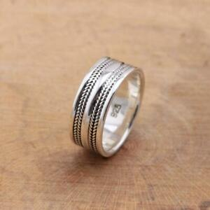 925 Sterling Silver Bali design Band Ring Balinese Jewellery 9mm