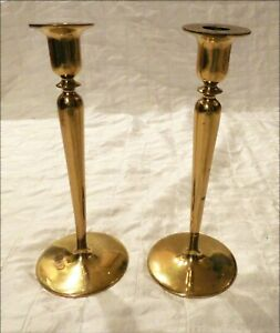 T. F. McGann & Sons Art Nouveau Art & Crafts Heavy Bronze Brass Candlesticks