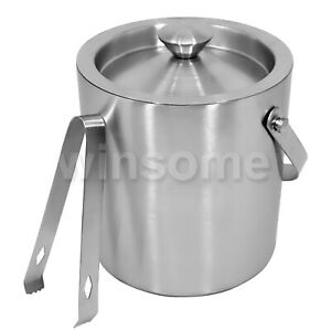 Large Double Walled Stainless Steel Insulated Ice Bucket with Tongs Lid 2 LTR