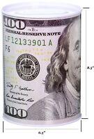 "Tin Money Savings Piggy Bank With Ben Franklin $100 Bill Money Coin Saver 8 x 6"""