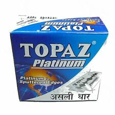 blades |Topaz Platinum Sputtered Edges Razor Blades Men's Shaving 100 blades