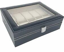 Watch Display Box Case Faux Leather Jewelry Display Box, 10 Grids