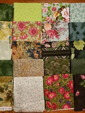 Huge Lot 20 Fat Quarter Fabric 100% Cotton Quilt Sew Green Fall Color Celebrate!