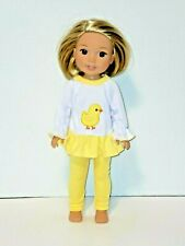 """Yellow Little Chick Pant Set Fits 14.5"""" Wellie Wisher American Girl Clothes"""