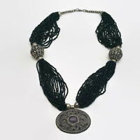 Multistrand Black Seed Bead Silver Tone Pendant Necklace