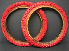 Vintage NOS Roached 16 x 2.125 Red Cheng Shin BMX Bicycle Tire Pair