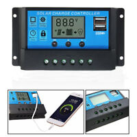 10A-30A 12V/24V LCD Display Solar Panel Battery Regulator Charge Controller USB