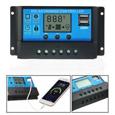 30A LCD Auto PWM Solar Panel Regulator Charger Controller Dual USB 24V