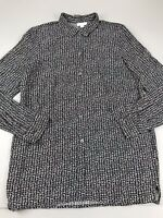 J Jill Black White Print Top Tunic Button Long Sleeve Small S Viscose Rayon