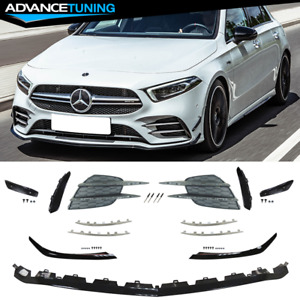 Fits 19-21 Benz W177 A35 AMG Front Bumper Lip Kit with Grille Chrome Moulding