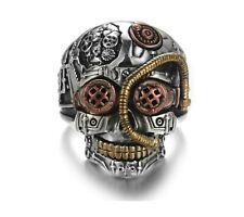 Anello Teschio Massiccio Fascia Uomo Donna Unisex Skull Punk Argento Oro