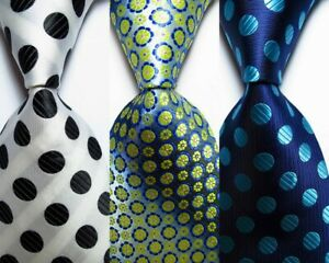 3 pcs New Classic Dot JACQUARD WOVEN 100% Silk Men's Tie Necktie