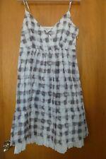 SANDWICH Women White Gray Check Cotton Spaghetti Strap Dress Size 38 ( 6/8 US)