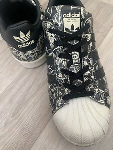 ADIDAS SUPERSTAR Black Floral Trainers Casual Shoes UK 6