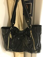 "Betsy Johnson Women's Black ""Patent Leather Look"" Purse With Zippers And Bow"