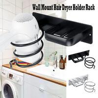 Hair Dryer Holder Wall Mount Hanging Rack Organizer Hook Spiral Bathroom Bracket