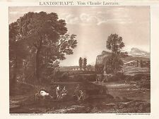 B0110 Landschaft - Claude Lorrain - Stampa antica - 1901 Engraving