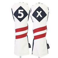 Majek Golf #5 & X Fairway Wood Headcover White Blue w/ Red Stripe Leather Style