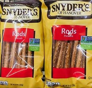 2 Bags Snyder's Of Hanover Pretzel Rods  *~*+ FAST FREE SHIPPING ! +*~*