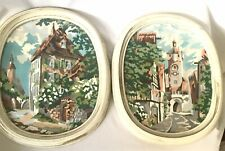 New Listing2 Early Vintage Paint by Number Oil On Canvas European Street Scene Oval Framed